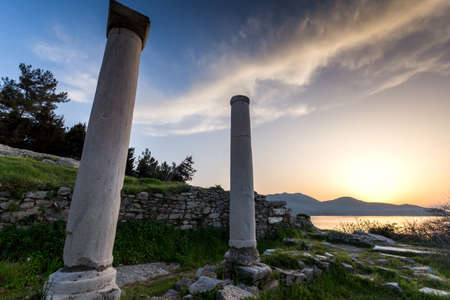 thassos: Sunset Lanscape on Evraiokastro Archaeological Site, Thassos town, East Macedonia and Thrace, Greece