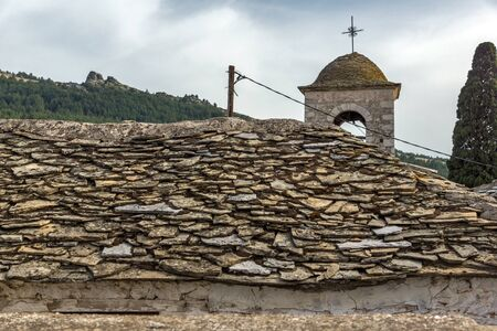 thassos: Orthodox church with stone roof in village of Theologos,Thassos island, East Macedonia and Thrace, Greece Stock Photo
