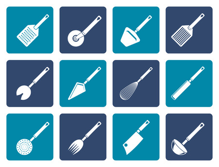 kitchen equipment: Flat different kind of kitchen accessories and equipment icons - vector icon set