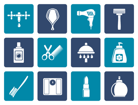 personal care: Flat Personal care and cosmetics  icons - vector icon set