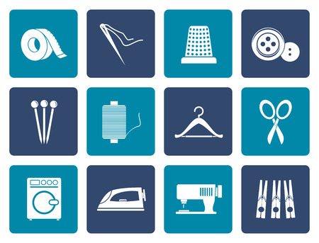 textile industry: Flat Textile objects and industry icons - vector icon set