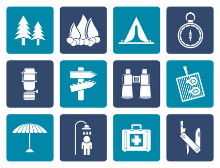 pocket: Flat Camping, travel and Tourism icons - vector icon set