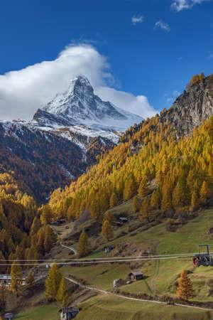 valais: Autumn panorama of Mount Matterhorn, Canton of Valais, Switzerland