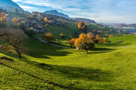 interlaken: Amazing Autumn view of typical Switzerland village near town of Interlaken, canton of Bern Stock Photo