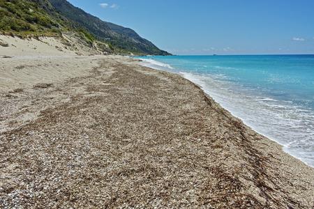 blue waters: Blue waters of Katisma Beach, Lefkada, Ionian Islands, Greece Stock Photo