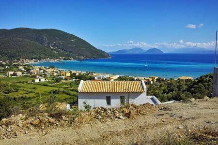 island paradise: Amazing landscape of Vasiliki village and Ithaka and Kefalonia,  Ionian Islands, Greece Stock Photo