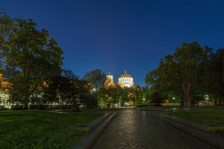 alexander nevsky: Night photo of Alexander Nevsky Cathedral, Sofia, Bulgaria