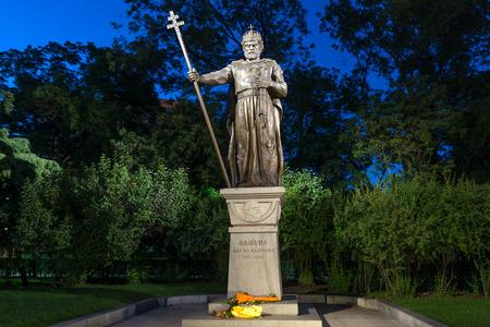tsar: Night photo of Monument of bulgarian Tsar Samuel, Sofia, Bulgaria Editorial