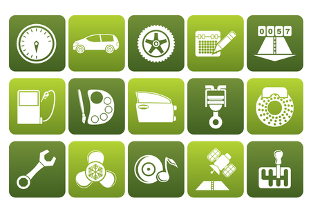 characteristics: Black car parts, services and characteristics icons - icon set Illustration