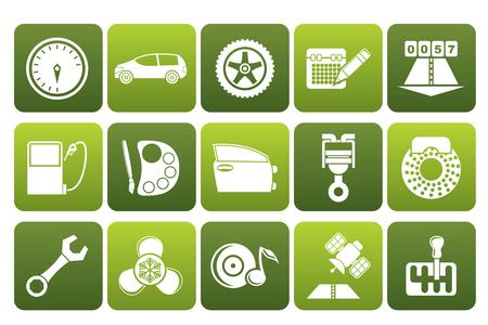 car parts: Las partes negras de automóviles, servicios y características iconos - conjunto de iconos