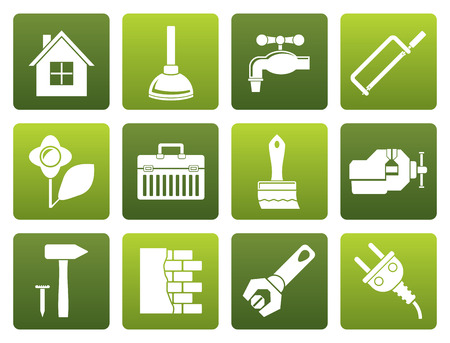 Construction And Diy Black Silhouette Icon Button Set Royalty Free ...