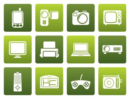 lcd monitor printer: Black Hi-tech technical equipment icons - icon set