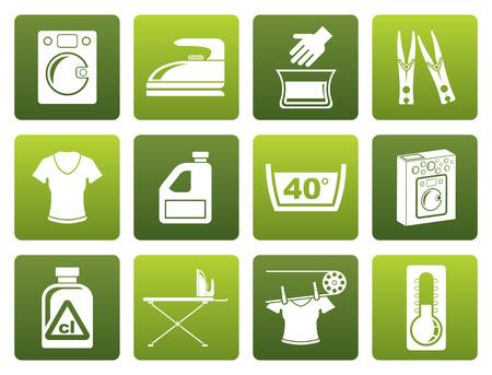 Black Washing machine and laundry icons - illustration