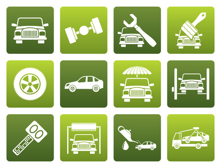 breakdown truck: Black auto service and transportation icons - icon set Illustration