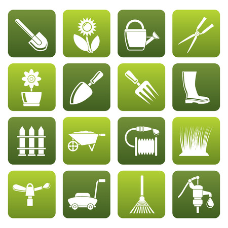 Black Garden and gardening tools and objects icons - icon set Ilustracja