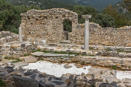 thassos: Ruins of ancient church in Archaeological site of Aliki, Thassos island,  East Macedonia and Thrace, Greece