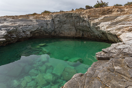 natural pool: Amazing view of Giola Natural Pool in Thassos island, East Macedonia and Thrace, Greece