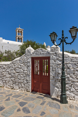 ano: Panoramic view of Panagia Tourliani monastery in Town of Ano Mera, island of Mykonos, Cyclades, Greece Stock Photo