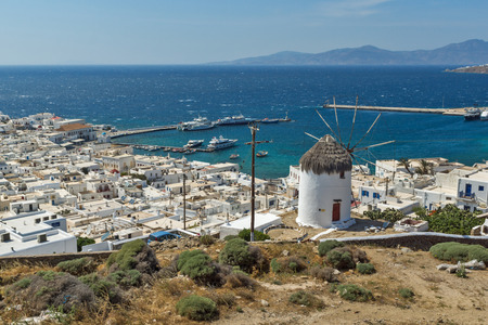 mykonos: Landscape with white windmill and island of Mykonos, Cyclades, Greece