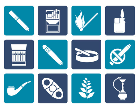 cigarette pack: Flat Smoking and cigarette icons - vector icon set