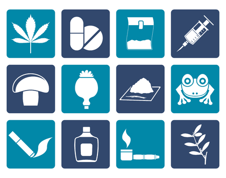 heroin: Flat Different kind of drug icons - vector icon set