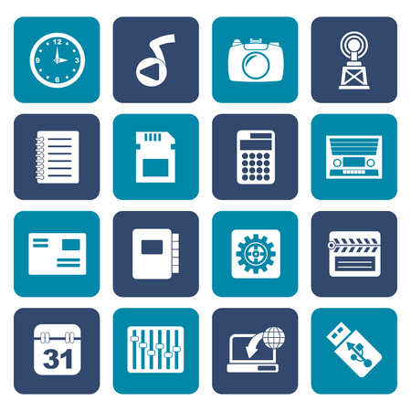 polyphony: Flat Phone Performance, Internet and Office Icons - Vector Icon Set Illustration