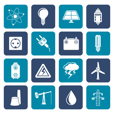 power pole: Flat Power and electricity industry icons - vector icon set