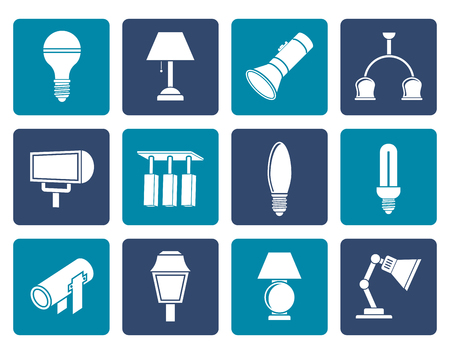 lighting button: Flat different kind of lighting equipment - vector icon set