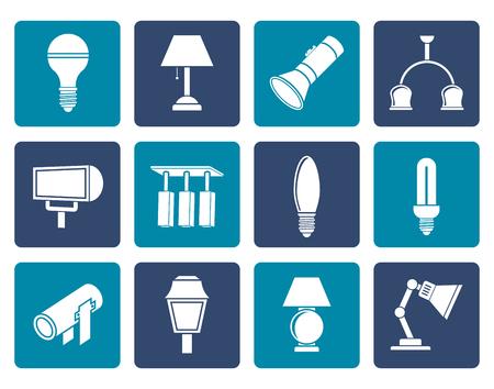 lighting equipment: Flat different kind of lighting equipment - vector icon set