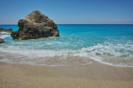 blue waters: Blue Waters of Megali Petra Beach, Lefkada, Ionian Islands, Greece