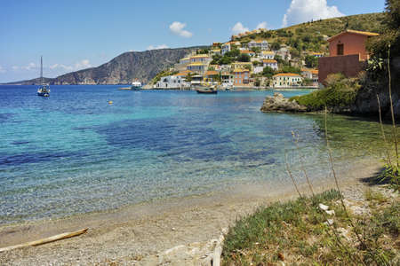 cefallonia: Panorama of Assos village and beautiful sea bay, Kefalonia, Ionian islands, Greece Stock Photo