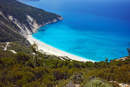 cefallonia: Panoramic view of Myrtos Beach, Kefalonia, Ionian Islands, Greece Stock Photo