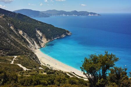 cefallonia: Amazing panorama of Myrtos Beach, Kefalonia, Ionian Islands, Greece Stock Photo