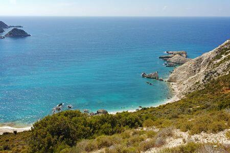 cefalonia: Amazing Paorama of Petani Beach, Kefalonia, Ionian Islands, Greece Stock Photo