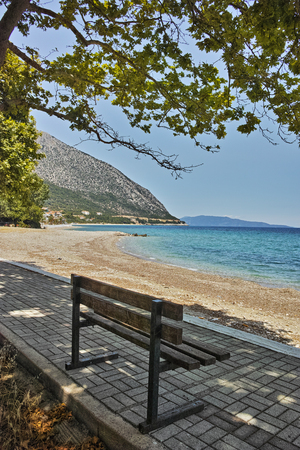 poros: Trees on the beach of Poros, Kefalonia, Ionian Islands, Greece