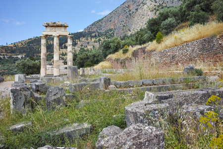 athena: Remainings of Athena Pronaia Sanctuary in Ancient Greek archaeological site of Delphi,Central Greece Stock Photo