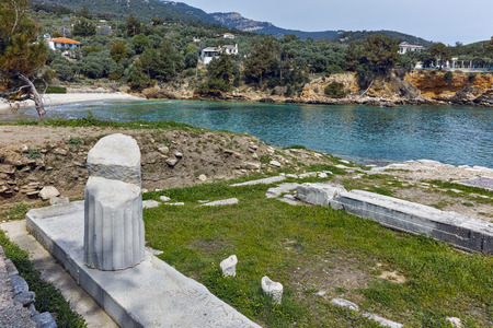 thassos: Ancient Column in Archaeological site of Aliki, Thassos island,  East Macedonia and Thrace, Greece