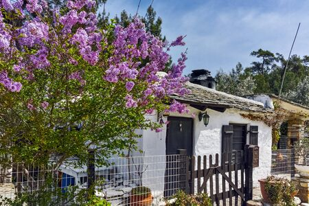thassos: Old stone house and violet flowers in village of Aliki, Thassos island, East Macedonia and Thrace, Greece