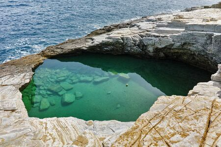 thassos: Amazing view of Giola Natural Pool in Thassos island, East Macedonia and Thrace, Greece