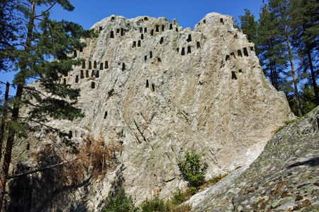 Ruins of Thracian Sanctuary Eagle Rocks near town of Ardino, Kardzhali Region, Bulgaria Stok Fotoğraf