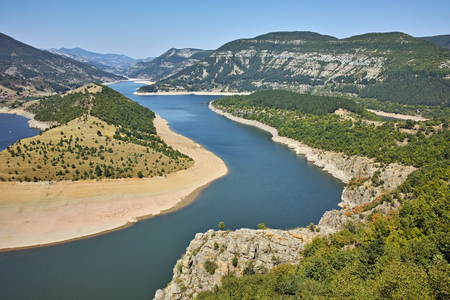 meander: Amazing Panorama of Arda River meander and Kardzhali Reservoir, Bulgaria Stock Photo