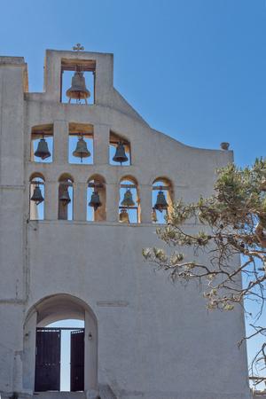 thira: Entrance of Monastery Prophet Elias,  Santorini island, Thira, Cyclades, Greece