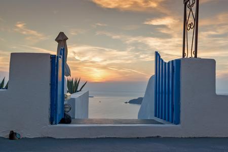 thira: Sunset landscape in town of imerovigli, Santorini island, Thira, Cyclades, Greece