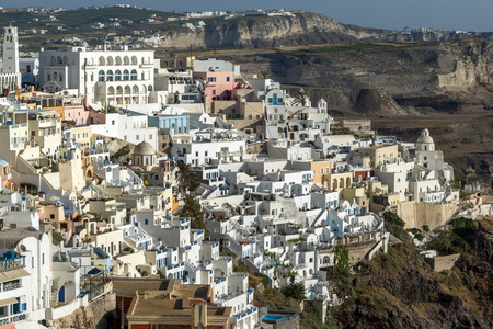 fira: Amazing panorama to town of Fira and Prophet Elias peak, Santorini island, Thira, Cyclades, Greece Editorial