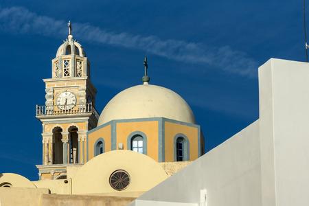 firostefani: Amazing view of orthodox church in town of Firostefani, Santorini island, Thira, Cyclades, Greece