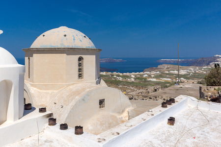cyclades: Old Church in Pyrgos Kallistis, Santorini island, Thira, Cyclades, Greece Stock Photo