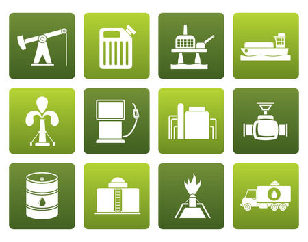 flaring: Flat Oil and petrol industry icons - vector icon set Illustration