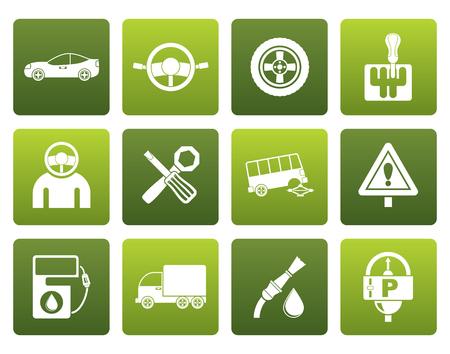 transportation icons: Flat car services and transportation icons - vector icon set