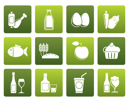 aliments: Flat Food, drink and Aliments icons - vector icon set Illustration