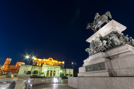 Monument of the Tsar Liberator, National Assembly and Alexander Nevsky Cathedral in city of Sofia, Bulgaria Editorial